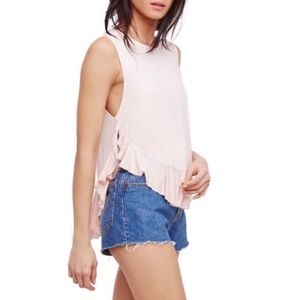 Free People Pink Uptown Ruffle Tank Top
